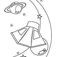Dibujo para colorear : satelite y planeta