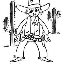 Dibujo del sheriff - Dibujos para Colorear y Pintar - Dibujos para colorear PERSONAJES - Vaqueros e indios: dibujos para pintar