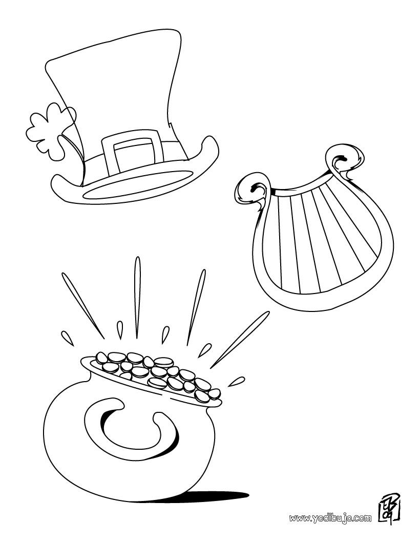Dibujo para colorear : Sombrero, Arpa y Oro