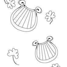 Dibujo para colorear : Arpa y treboles