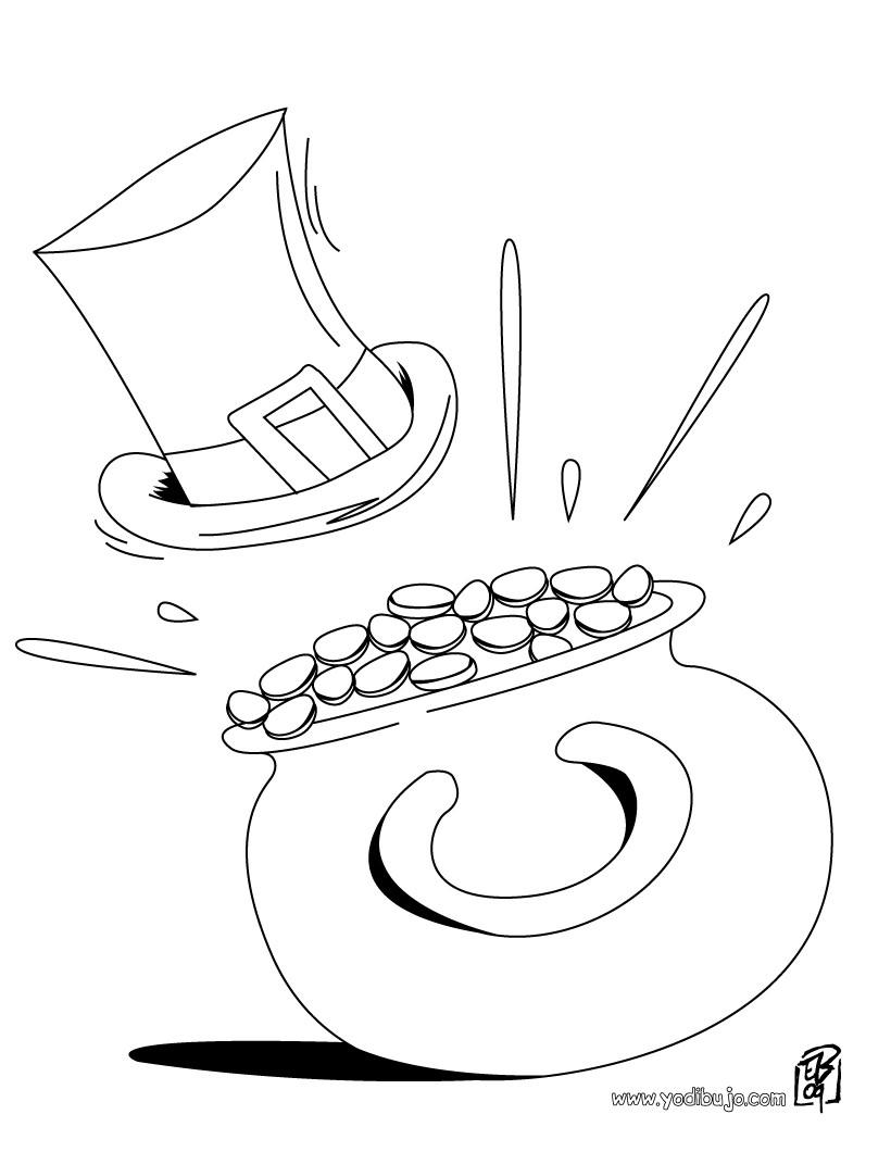 Dibujos para colorear sombrero y olla de oro - es.hellokids.com