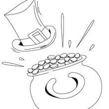 Dibujo de sombrero y oro los simbolos del dia de san patricio - Dibujos para Colorear y Pintar - Dibujos para colorear FIESTAS - Dibujos para colorear SAN PATRICIO