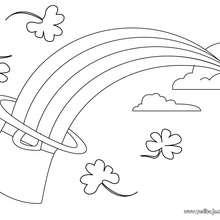 Dibujo de los tréboles y el arcoiris de san patricio para colorear - Dibujos para Colorear y Pintar - Dibujos para colorear FIESTAS - Dibujos para colorear SAN PATRICIO