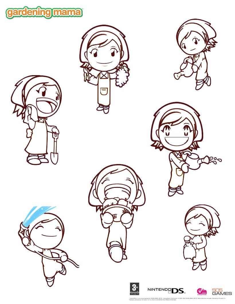 Dibujos para colorear gardening mama 4 - es.hellokids.com