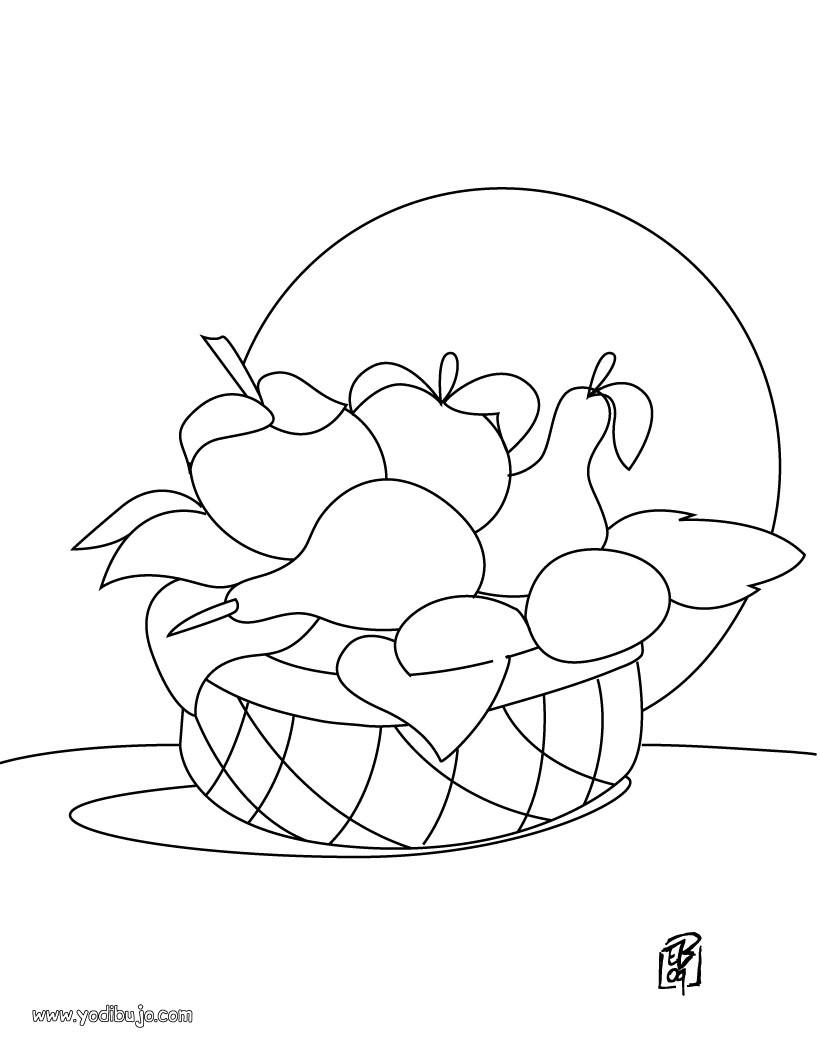 Dibujos de FRUTAS Y VERDURAS para colorear, frutero para imprimir