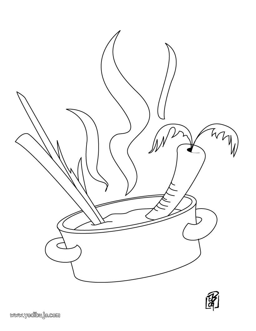Dibujo para colorear : ¡Qué rica sopa de verduras!