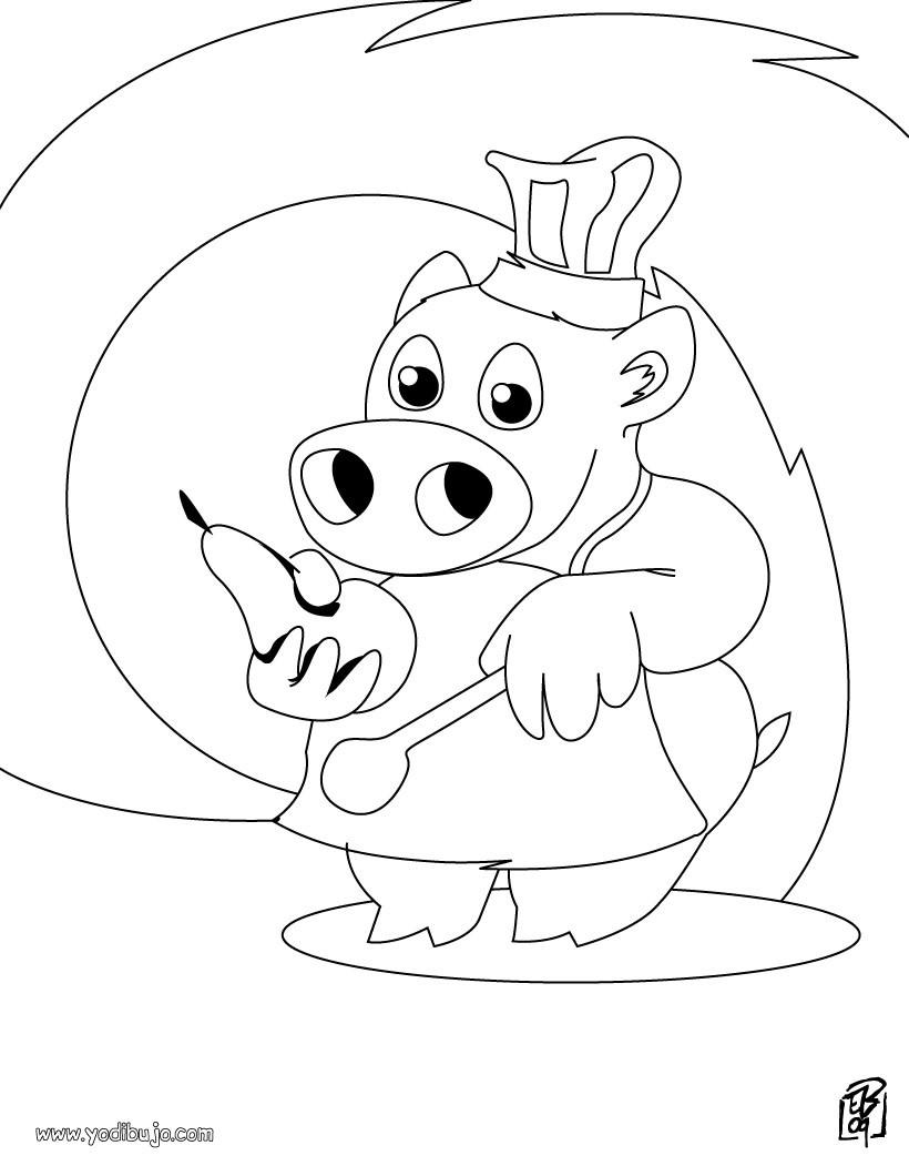 Dibujos para colorear cocinero con una pera - es.hellokids.com