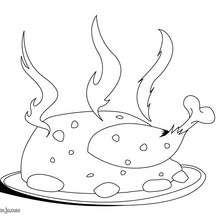 Dibujo de un pollo humeante - Dibujos para Colorear y Pintar - Dibujos para colorear PROFESIONES Y OFICIOS - Los cocineros en ciernes