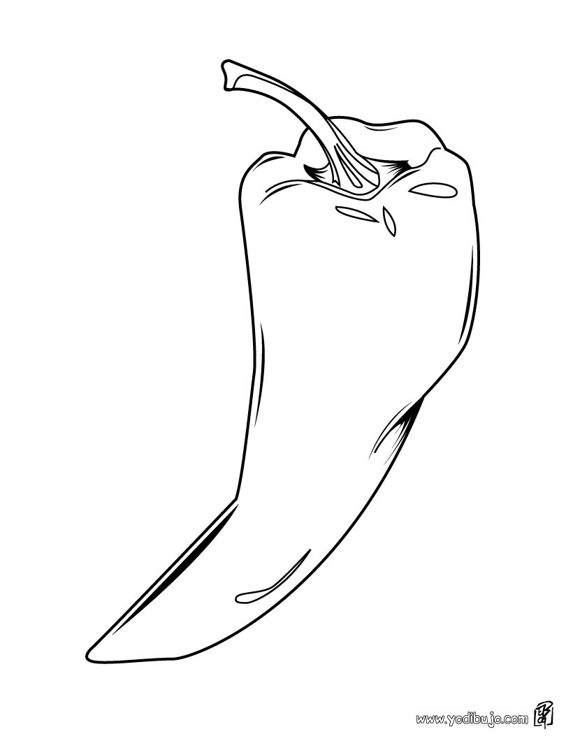 Chili Pepper Coloring Page