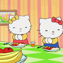 Dibujo Hello Kitty comiendo