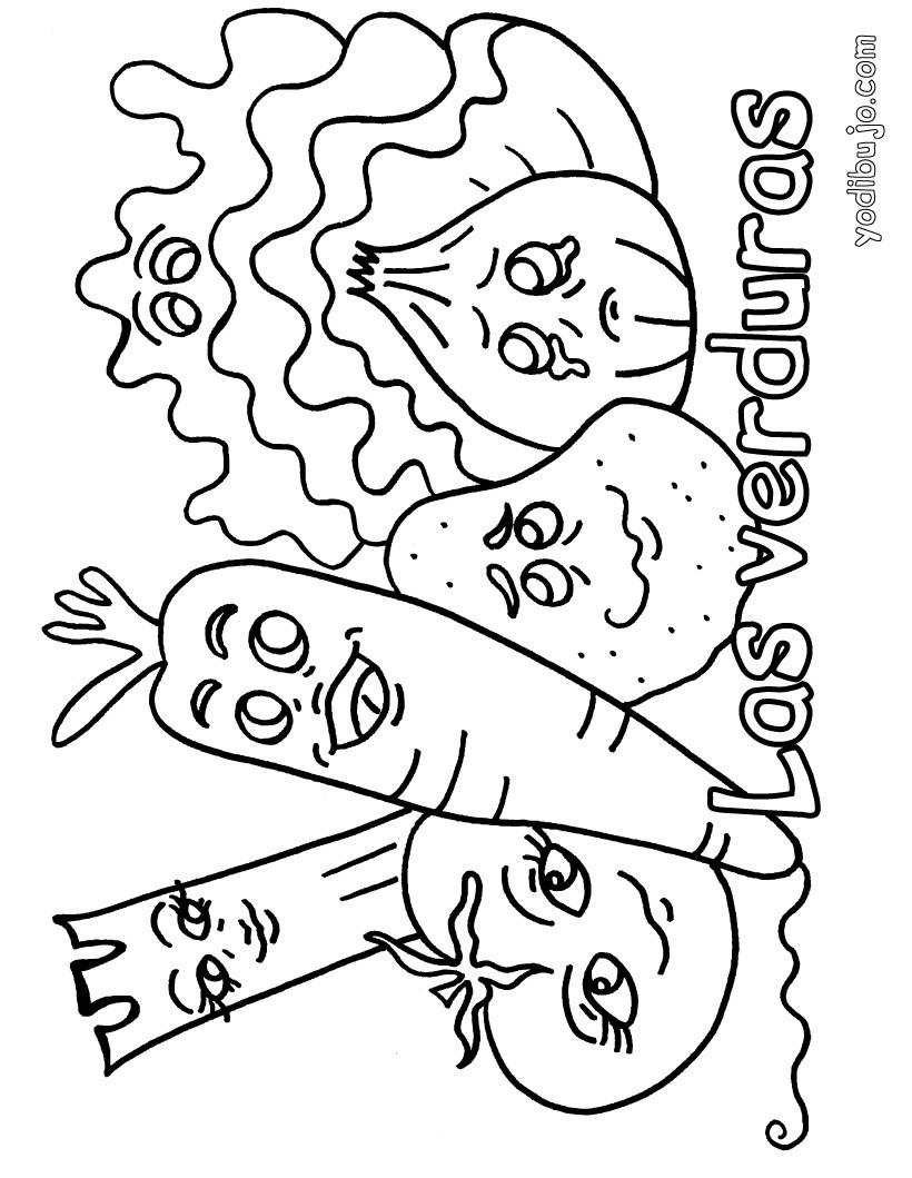Dibujo las verduras - Dibujos de FRUTAS Y VERDURAS para colorear