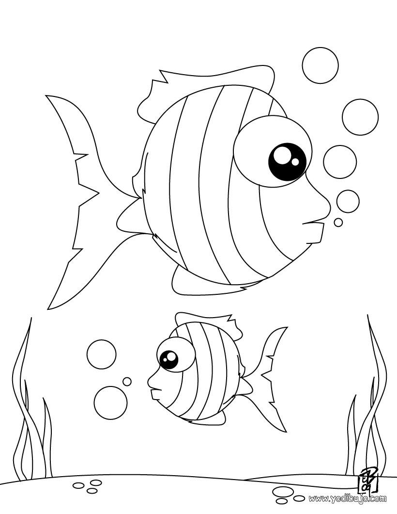 Dibujo de peces rayados - Dibujo para pintar PEZ RAYADO