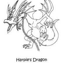 Dibujo Harpie´s drago - Dibujos para Colorear y Pintar - Dibujos para colorear MANGA - Dibujos para colorear de YU GI OH - Dibujos para colorear DRAGON YU GI OH