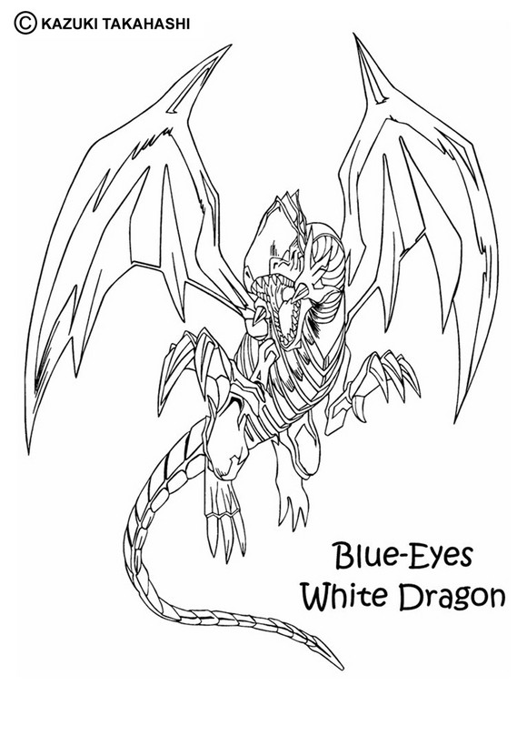 Dibujo para colorear : Dragón Blanco Blue-Eyes