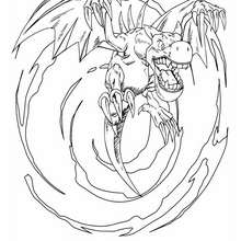 Dibujo winged dragon con alas - Dibujos para Colorear y Pintar - Dibujos para colorear MANGA - Dibujos para colorear de YU GI OH - Dibujos para colorear DRAGON YU GI OH