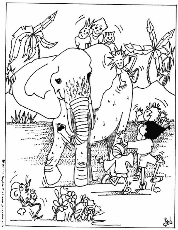 Dibujos para colorear niños con elefantes - es.hellokids.com