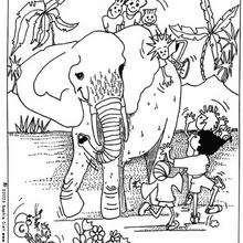 niños con elefantes