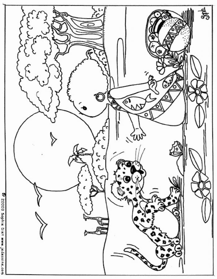 Dibujos para colorear el niño y el leopardo - es.hellokids.com