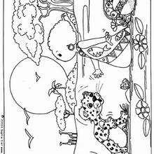 Dibujo para colorear : el niño y el leopardo
