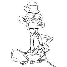 Dibujo mono detectivo - Dibujos para Colorear y Pintar - Dibujos para colorear ANIMALES - Dibujos ANIMALES SALVAJES para colorear - Dibujos ANIMALES DE LA JUNGLA para colorear - Colorear MONOS - Dibujos para colorear e imprimir MONOS