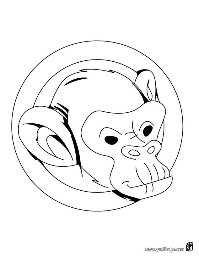 Dibujos para colorear mono chimpance - es.hellokids.com