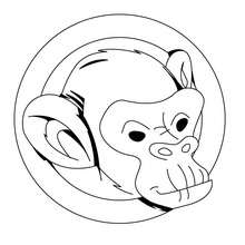 dibujo de mono chimpance - Dibujos para Colorear y Pintar - Dibujos para colorear ANIMALES - Dibujos ANIMALES SALVAJES para colorear - Dibujos ANIMALES DE LA JUNGLA para colorear - Colorear MONOS - Dibujos para pintar CHIMPANCE