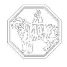 Dibujo signo tigre - Dibujos para Colorear y Pintar - Dibujos infantiles para colorear - Signos astrológicos chinos para pintar
