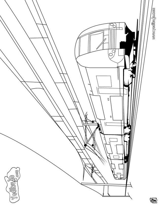 Dibujo para colorear : un tren eléctrico