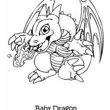 Dibujo bebe dragon - Dibujos para Colorear y Pintar - Dibujos para colorear MANGA - Dibujos para colorear de YU GI OH - Dibujos para colorear DRAGON YU GI OH