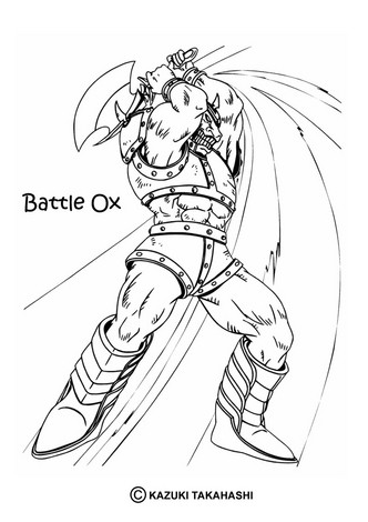 Dibujo para colorear : bufalo battle ox