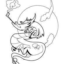 Dibujo para colorear : dragon con pipa
