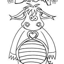Dibujo de un dragon chistoso - Dibujos para Colorear y Pintar - Dibujos para colorear de FANTASIA - Dibujos para colorear DRAGONES - Dibujos de DRAGÓN para colorear