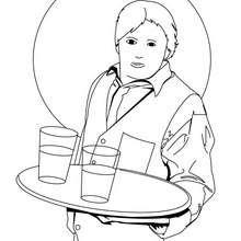 Dibujo de un camarero - Dibujos para Colorear y Pintar - Dibujos para colorear PROFESIONES Y OFICIOS - Oficios y profesiones: Dibujos para pintar