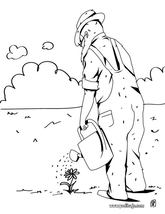 Dibujo para colorear : un jardinero