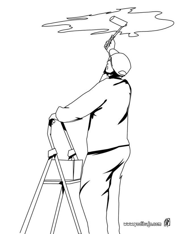 Dibujo para colorear : un pintor