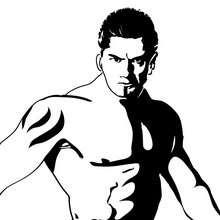 Retrato del luchador Batista - Dibujos para Colorear y Pintar - Dibujos para colorear DEPORTES - Dibujos de LUCHA LIBRE para colorear - Dibujos para colorear BATISTA
