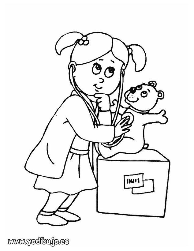 Dibujo de una enfermera - Oficios y profesiones: Dibujos para pintar