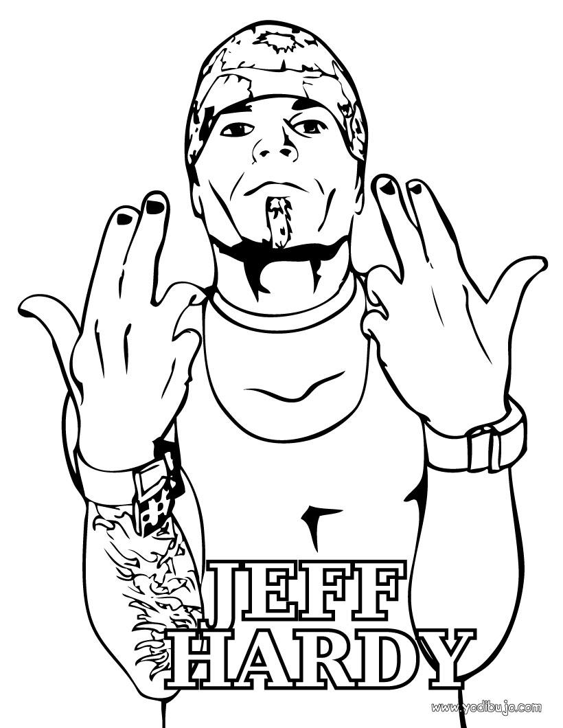 Dibujo para colorear : luchador WWE Jeff Hardy