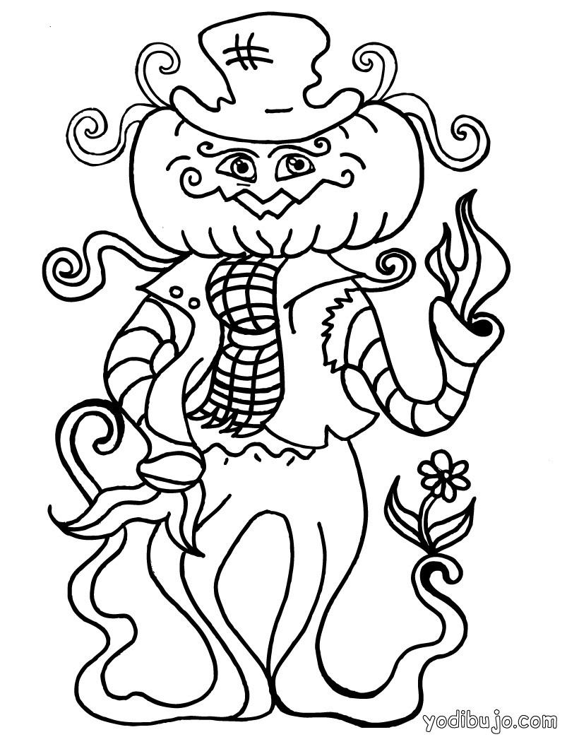 Dibujos para colorear calabaza espantapájaros de halloween - es ...