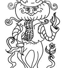 Dibujo de calabaza espantapájaros de Halloween - Dibujos para Colorear y Pintar - Dibujos para colorear FIESTAS - Dibujos para colorear HALLOWEEN - CALABAZAS HALLOWEEN  para colorear