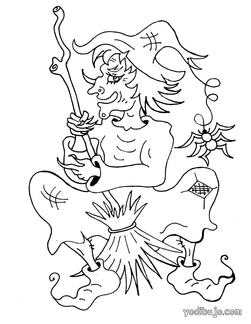 Dibujos para colorear nariz ganchuda de bruja - es.hellokids.com