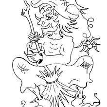 Dibujo : Bruja de Halloween con su escoba - Dibujos para Colorear y Pintar - Dibujos para colorear FIESTAS - Dibujos para colorear HALLOWEEN - Dibujos de BRUJAS para colorear - Dibujos de BRUJA EN SU ESCOBA