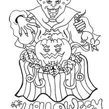 Dibujo para colorear : un vampiro de Halloween