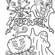Dibujo para colorear : calabaza, gato negro, vampiro y fantasma
