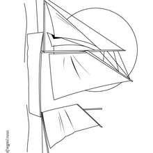 Dibujo de un velero chino - Dibujos para Colorear y Pintar - Dibujos para colorear MEDIOS DE TRANSPORTE - Dibujos para colorear VELEROS