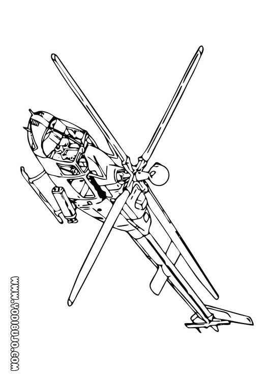 Dibujos para colorear helicoptero con dos helices - es.hellokids.com