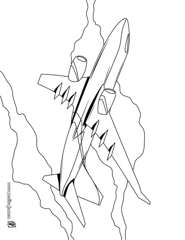Dibujos para colorear un avión - es.hellokids.com