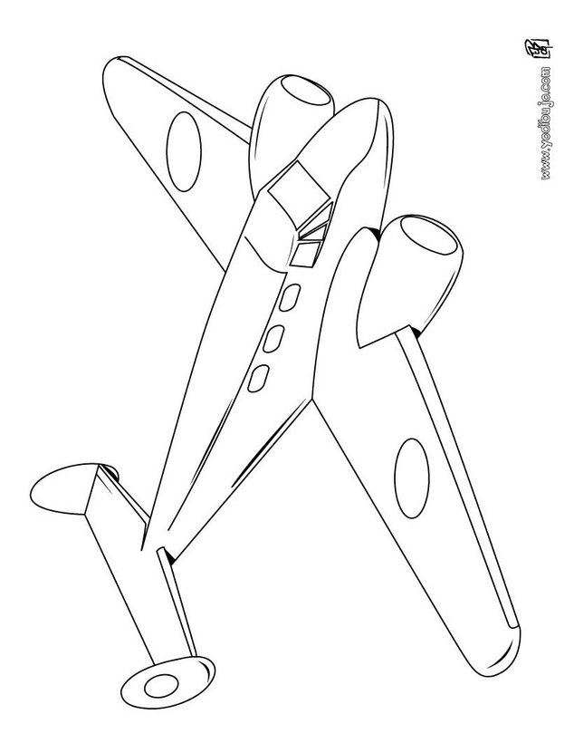 Dibujos para colorear un avión de línea - es.hellokids.com