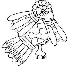 Dibujo para colorear : una codorniz prehispanica