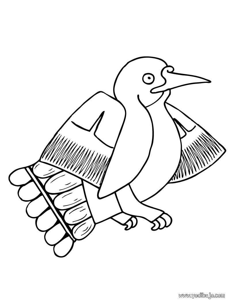 Dibujo para colorear : un colibri prehispanico